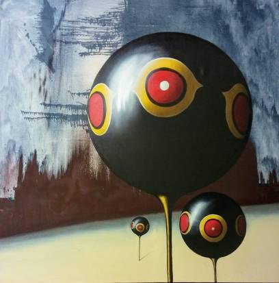 Palloni, 150x150 cm, olio su tela 2018